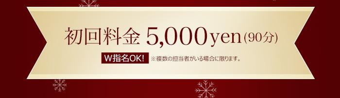 初回料金5,000yen(90分) W指名OK! ※複数の担当者がいる場合に限ります。